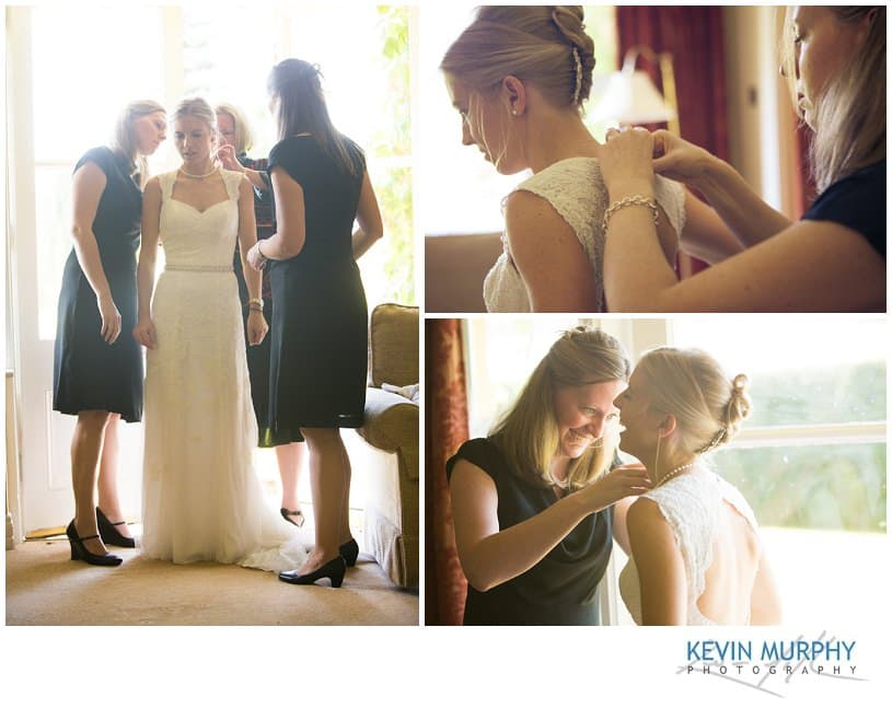 Bride preparations photography in the Dunraven Arms Hotel Adare