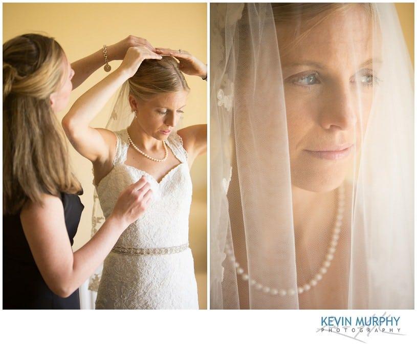 Bride attaching veil photograph
