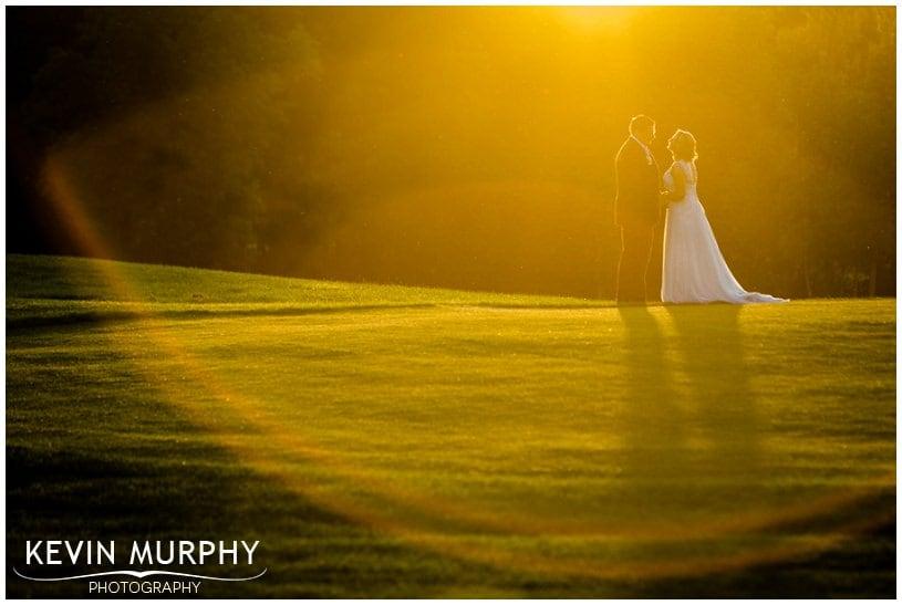 sunset ballykisteen wedding photo