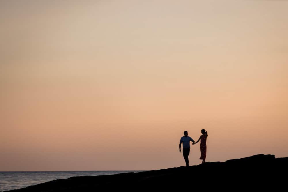 engagement photoshoot sunset beach