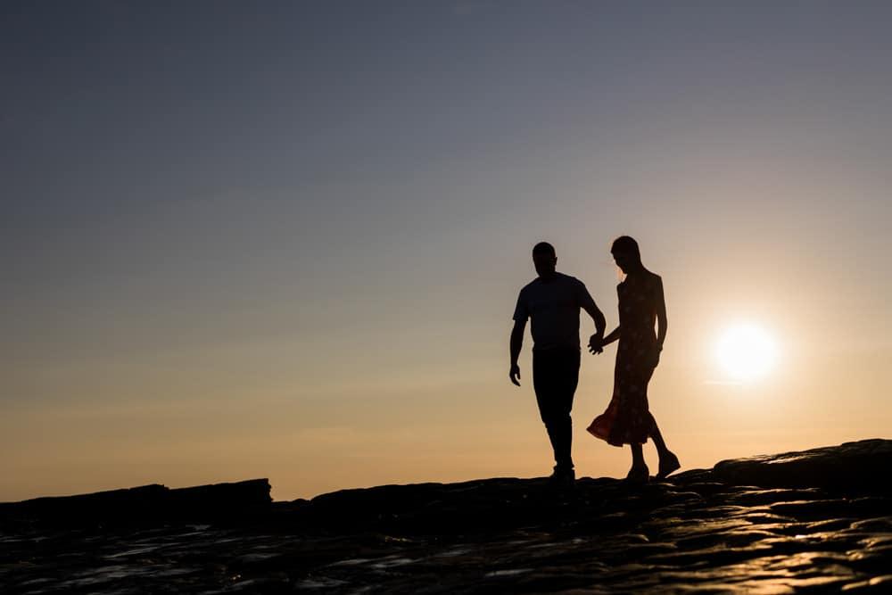 engagement shoot beach sunset