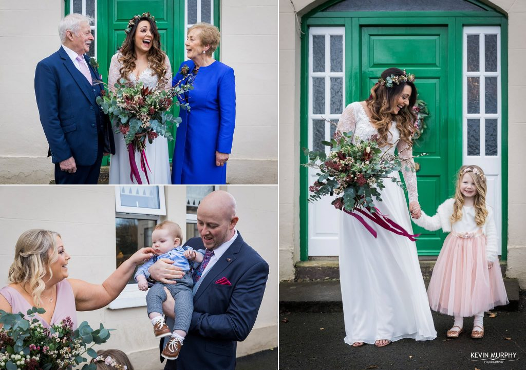 bride and family at house