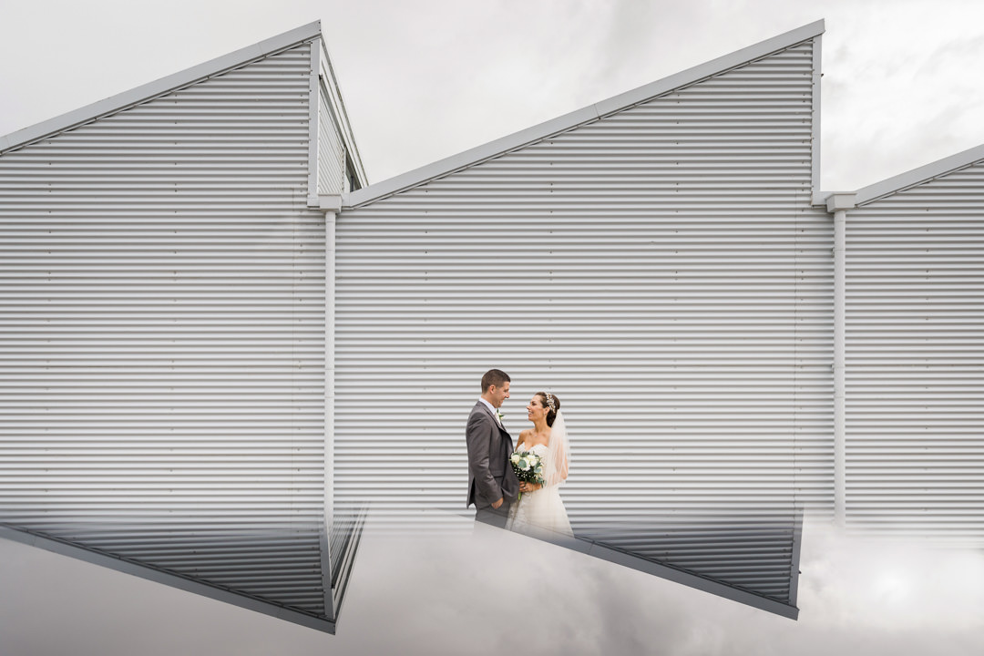 creative wedding photo reflection